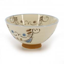 bol de riz traditionnel japonais avec images chat KOHIKI MIKE ÔHIRA