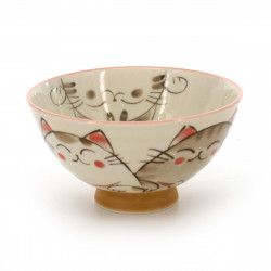 rice bowl with cat pictures white KOHIKI MIKE NAKAHIRA