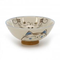 Japanese ceramic rice bowl, KOHIKI MIKE KERYÔ, chat