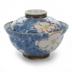 Ciotola in ceramica giapponese con coperchio, NISHIKI UME, blu