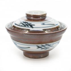 Ciotola in ceramica giapponese con coperchio, SABI IGETA, marrone e bianco