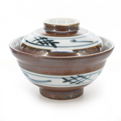 rice bowl with lid and blue patterns white and brown SABI IGETA