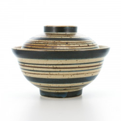 rice bowl with lid and brown lines beige AOKOMASUJI