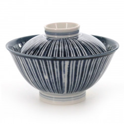 blue-lined rice bowl with lid white NAISHO TOKUSA