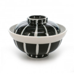 rice bowl with lid black and white TOKUSA