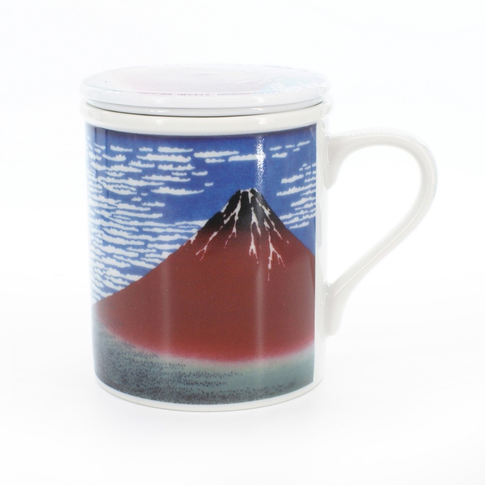 cup with lid and fujisan pictures white GAIFÛKAISEI