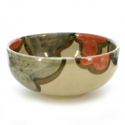 large-sized bowl with green and orange plum flower patterns beige UME TSUNAGI