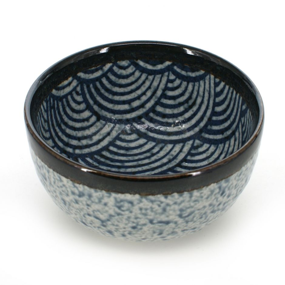 bowl with blue wave patterns white SEIGAIHA