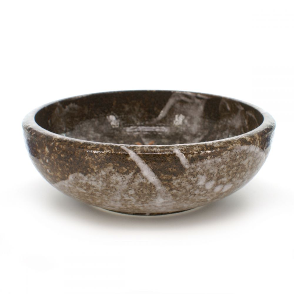 large-sized bowl with maple leaves patterns brown KAEDE