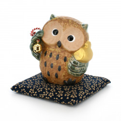 owl coin bank with cushion beige FUKURÔ CHOKIN-BAKO