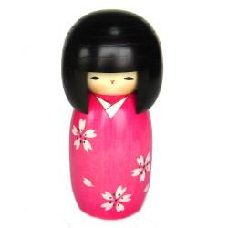bambola di legno giapponese - kokeshi, SAKURA, rosa