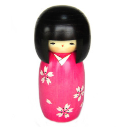 poupée en bois japonaise - kokeshi, SAKURA, rose