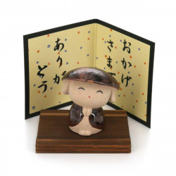 Japanese small ornament with thank you message, ARIGATÔ KOBÔSAN, monk