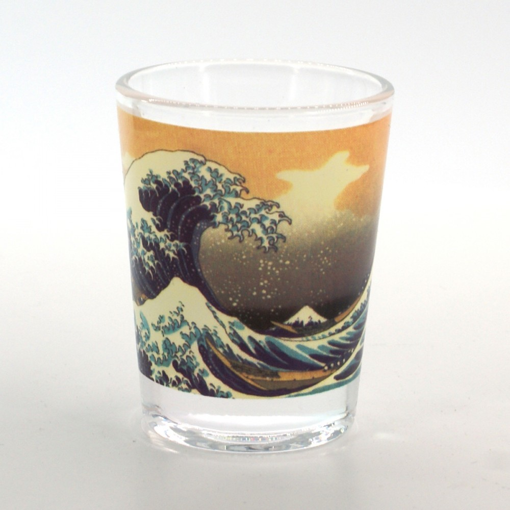 shot glass with wave pictures KANAGAWA URANAMI