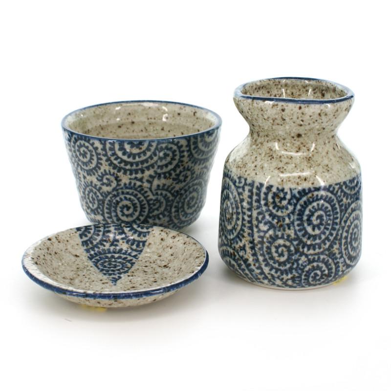 bottle cup and little plate set with blue tako patterns grey TAKO-KARAKUSA