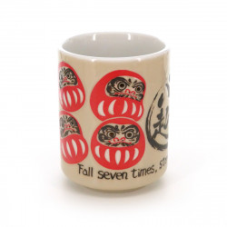 teacup Daruma with pictures and proverb white NANAKOROBI