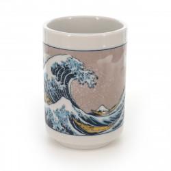 tasse traditionnelle japonaise à thé avec dessins vague NAMIURA