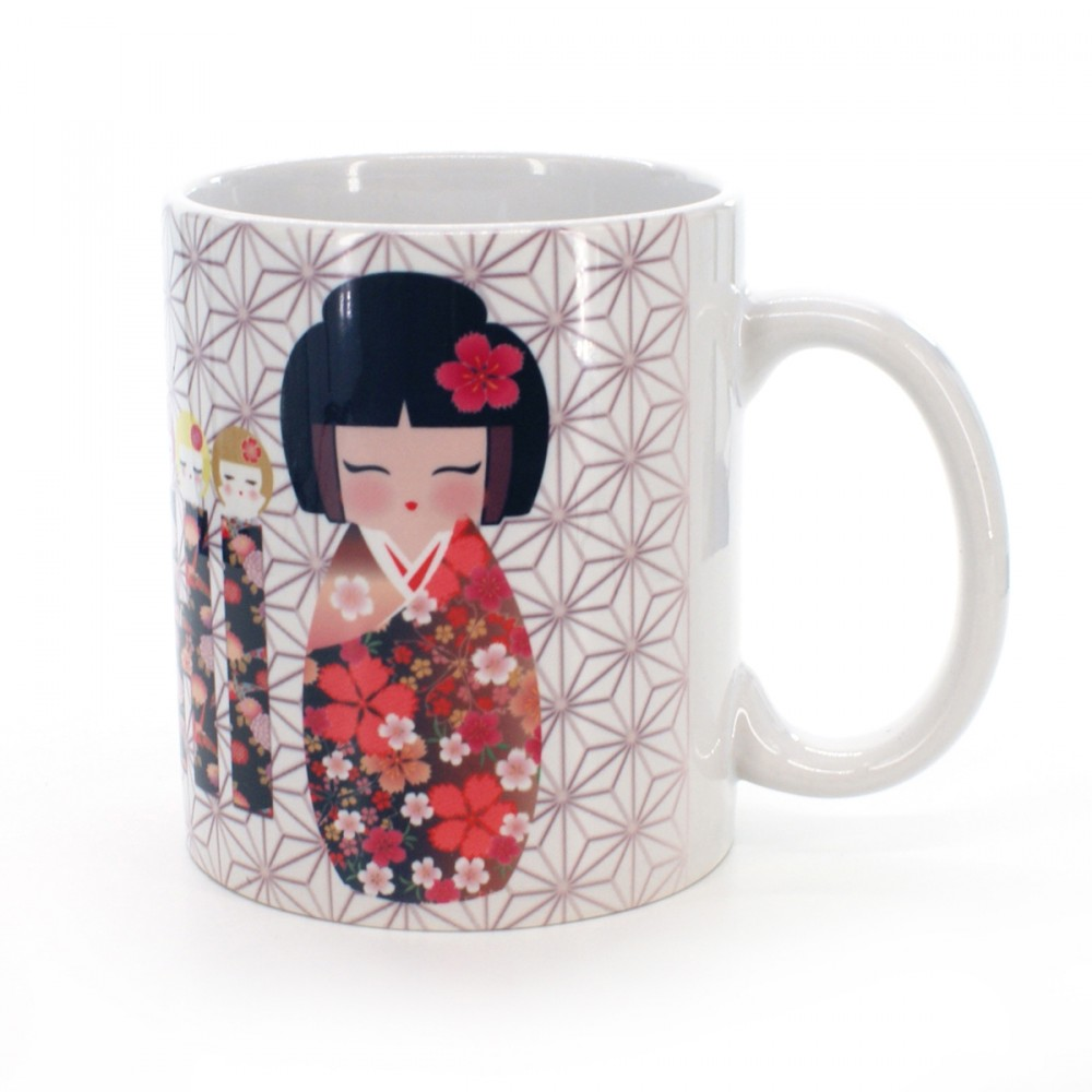 cup with kokeshi animal guardian patterns white VIVID MUG KOKESHI KOMAINU