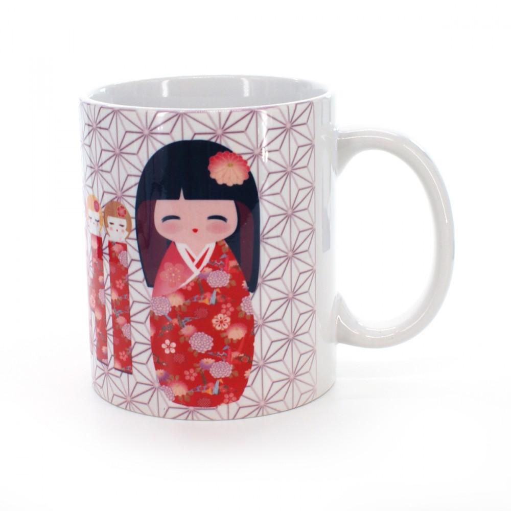 cup with kokeshi sakura flower patterns white VIVID MUG KOKESHI SAKURA