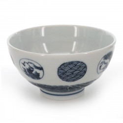 tea bowl with blue patterns white MARUMON SANSUI