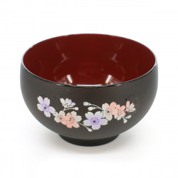 traditional japanese bowl, RENJI HOKKORI DAIWAN SAKURA, black