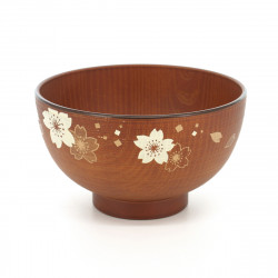 soup bowl with sakura flower patterns brown RENJI SHIRUWAN SÔKIBORI SAKURA