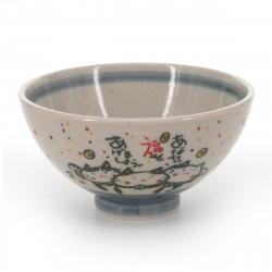 tea bowl with cat patterns blue KITARU FUKU NEKO