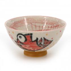 bol à thé traditionnel japonais avec motifs poissons MEDETAI