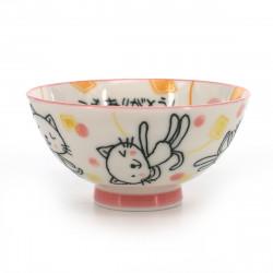 Japanese ceramic rice bowl, ITSUMO ARIGATÔ, chat