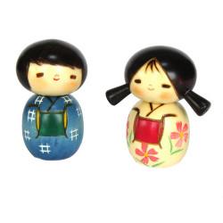 dúo de muñecas de madera japonesas - kokeshi , NAKAYOSHI, niños