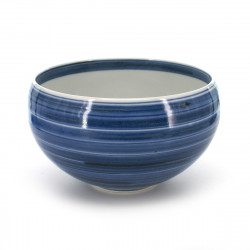 rice bowl with blue line patterns blue KOZOME KOMASUJI