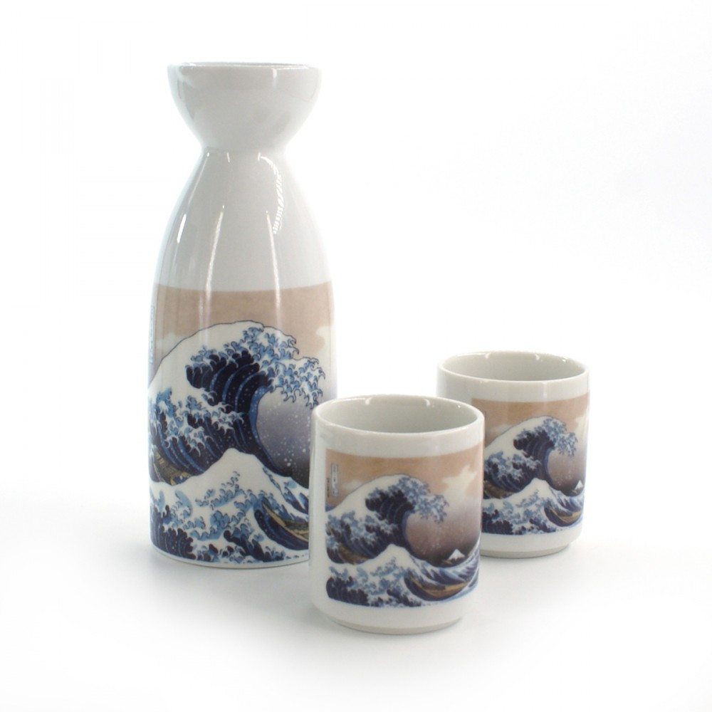 Japanese traditional colour white bottle and two sake cups set with wave pictures in ceramic KANAGAWA URANAMI
