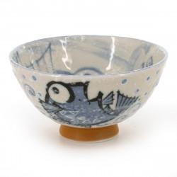 bol à thé traditionnel japonais avec motifs poissons couleur bleu en céramique MEDETAI
