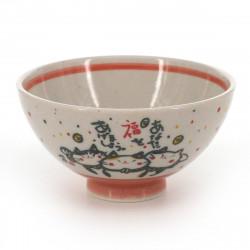 Japanese traditional colour red tea bowl with cat patterns in ceramic KITARU FUKU NEKO