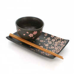 rectangular plate with pink sakura flowers patterns black TENMOKU HANAMATSURI