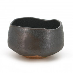 Japanese traditional colour black matcha bowl in terracotta KURO KESSHÔ TENMOKU