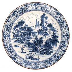 Japanese white large-sized plate with blue old japanese landscape picture in ceramic SHIN SANSUI