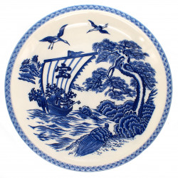 Japanese traditional colour white large-sized plate with blue boat picture and crane in ceramic TAKARA FUNE