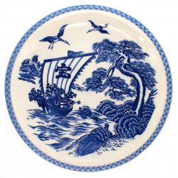 grande assiette avec image bateau bleu et grues couleur blanche en céramique TAKARA FUNE